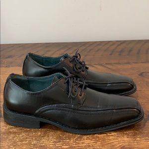 J.Ferrar Black Square Toe Leather Derby Shoes Sz 8